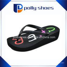 Black Thong Flip Flop Platform Wedge Plage Sandales 9 Nouveau