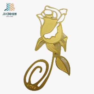 Marcador de encargo del metal Rose del regalo de la promoción del logotipo del laser para la decoración