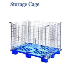 Jaula plegable del almacenamiento de la plataforma del alambre de Warehouse del acero del metal