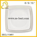 Solid white melamine square plate, melamine deep square plate, dinner plate