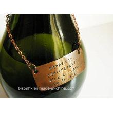 Custom Design Tag do pescoço da garrafa de vinho, Tag do vinho