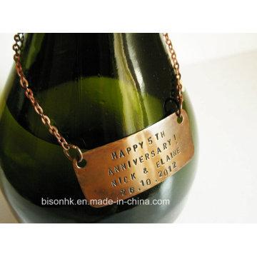 Diseña la etiqueta del cuello de la botella de vino, etiqueta del vino