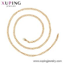 44977 Xuping 18k collar de cadena de estilo clásico simple chapado en oro