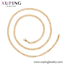 44977 Xuping 18k banhado a ouro simples estilo clássico colar de corrente