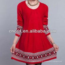13STC5138 vestido de camisola de tricô padrão para as mulheres