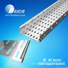 Punching perforated cable tray cable support systems