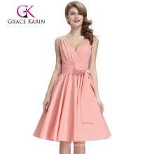 Grace Karin sin mangas de cuello en V profunda Rosa Vintage vestido de algodón retro CL008955-3