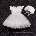 2018 verão novo vestido de bebê branco cor vestido menina com chapéu para o aniversário