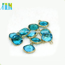 Bead Landing Pendants 12*12mm Square Shape with Obtuse Angle Aquamarine Crystal Pendant and Charms