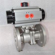 conexión de brida válvula de bola flotante con actuador neumático