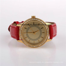 Mode Frauen Kristall Uhr mit Lederband