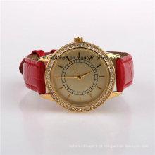 Moda feminina relógio de cristal com pulseira de couro