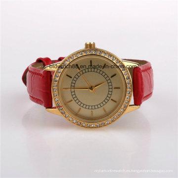 Reloj de mujer de moda cristal con banda de cuero