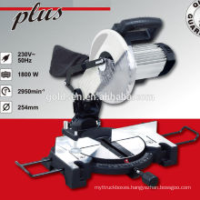 Low Noise 255mm 1800w Induction Motor Wood/Aluminum Cutting Machine Electric Power Hand Miter Saw