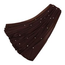 Fábrica de garantía al por mayor de jersey elástico hiyab perla piedra bufanda mujeres hijab