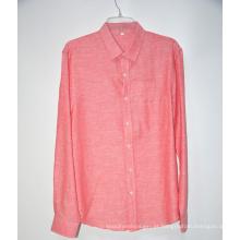 Camisa de linho rosa mangas curtas colarinho