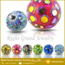 Körperschmuck Teile Großhandel Piercing Ersatzschraube Kugel Epoxy Crystal Coat Ferido Bälle