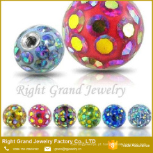 Partes da jóia do corpo atacado piercing substituição parafuso bola de epóxi cristal brasão ferido bolas