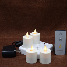 Set of 4  Moving Flame Rechargeable Votives With remote