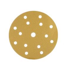 Disque de meulage jaune à boucles et crochets sans poussière