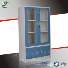 cheap glass door steel storage cabinet with two shelves