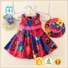 Kinder Kinder Mädchen Casual Sommer ein Set Kleid 2016 Tag Kleid Multi Set Kleid mit Hut / Kappe