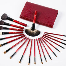 21PCS Natural Hair Cosmetics Makeup Brush Set with Red Pouch