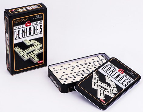 Double 6 Plastic Dominoes In Tin Box