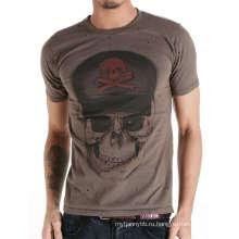 Прохладный Череп Печати Экрана Способа Изготовленный На Заказ Хлопок Мужчины T Рубашка