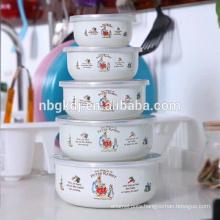 new enamel ice bowl /ice cream /salad bowl with pp lid