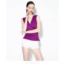 Neue Mode V-Ausschnitt ärmellose Bluse Wild Wrapped Brust Weste Bodenbildung Schlank Nachtclub Sexy Gaze Rüschenbluse