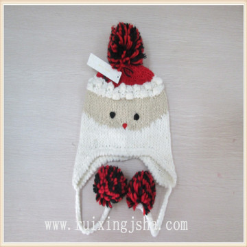 girls pompom Earflap Knitted beanie