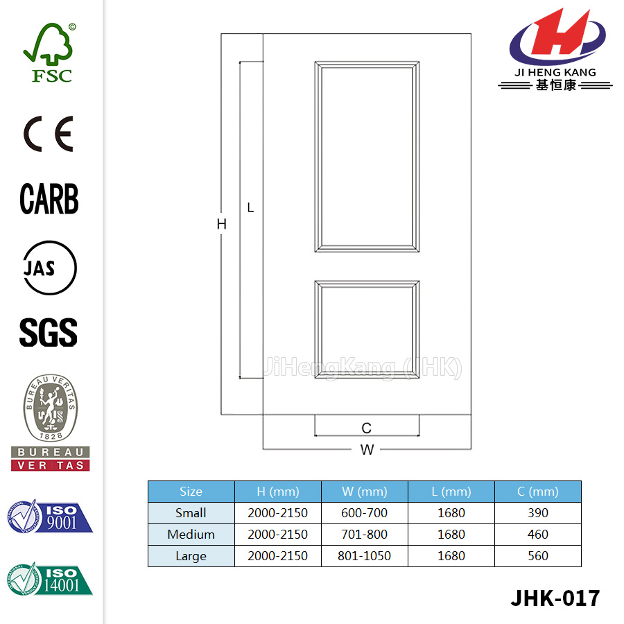 Italy Simplify Oval Two Panel Door Skin
