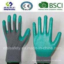 Escudo de poliéster con guantes de trabajo revestidos con nitrilo (SL-N103)