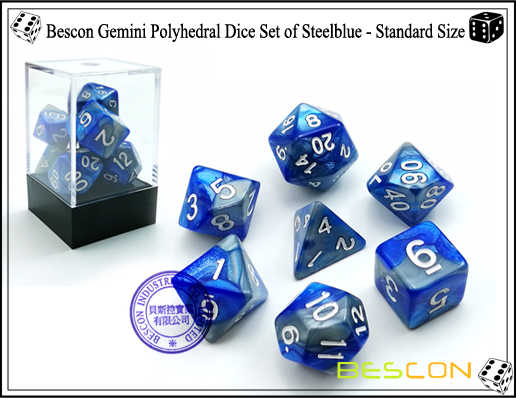 Bescon Gemini Polyhedral Dice Set of Steelblue-1