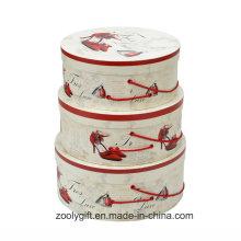 Papier d'impression personnalisé Boîtes de rangement à cadeau rond avec poignée de corde
