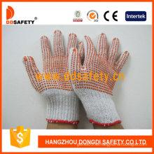 Guantes de algodón / poliéster con puntos rojos de PVC en ambos lados (DKP224)