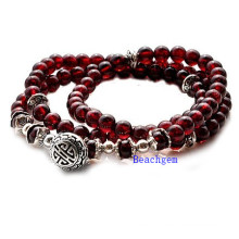 Natural Garnet Beads Bracelet with Silver Charm (BRG0009)