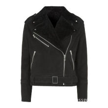 Women's Leather Jacket with Pure Lamb Fur