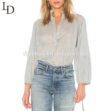 Últimas mangas de moda projeta tamanho grande ver através de blusa de algodão senhora