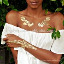 Tatuajes Temporales Metálicos YINCAI Flash Etiqueta Engomada Del Tatuaje de Plata Dorada Bling Henna Tatoo