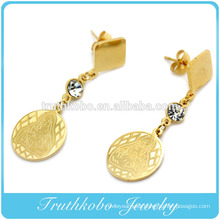 China Professional Jewelry Manufacturer Supply High Quality Stainless Steel Gold Religious Jewelry CZ Virgin Mary Earrings