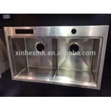 Encimera Encimera pequeña esquina redonda 50/50 cuenco doble fregadero de cocina hecho a mano de acero inoxidable con cuchillo de apoyo y antideslizante llanta