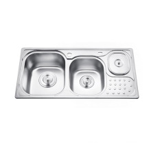 High quality double bowl silver kitchen sink with Waste Bin High quality double bowl silver kitchen sink with Waste Bin