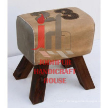 Industrial Canvas Wooden Legs Stool