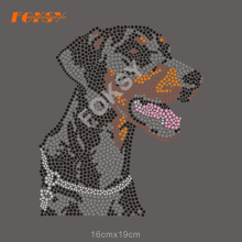 Cool Dog Iron On Rhinestone Transfer För Shirt