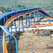 Overland Pipe Belt Conveyor Systems / Pipe Conveyor Equipment / Pipe Transporting Machinery