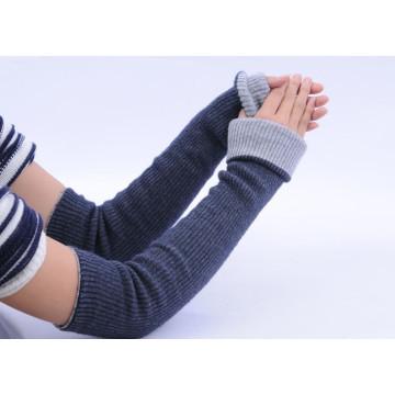 Wholesale winter double layers rib knitting cashmere glove