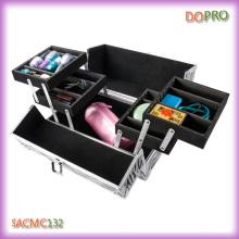Cuatro bandejas de Shell duro de aluminio belleza caso para el artista de maquillaje PRO (SACMC132)
