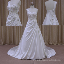 Sophisticated Beaded Butterfly Corset Sweetheart Satin Applique Wedding Dress